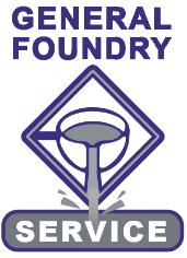 "General Foundry Service logo - purple ""GENERAL FOUNDRY SERVICE"" with an illustration of a casting being poured"