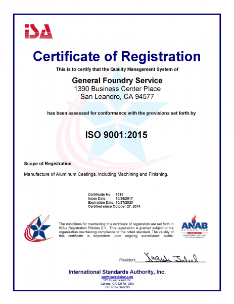 ISO 9001:2015 Certificate from   International Standards Authority, Inc