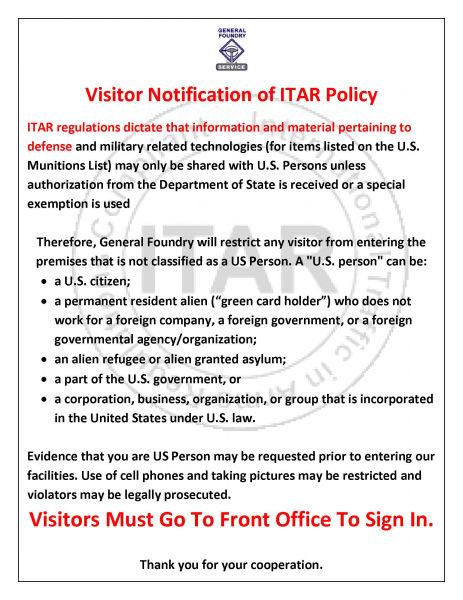 Visitor Notification of ITAR Policy
